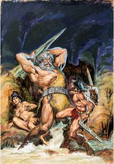Original cover painting by Earl Norem from The Savage Sword of Conan #28, published by Marvel Comics, April 1978.