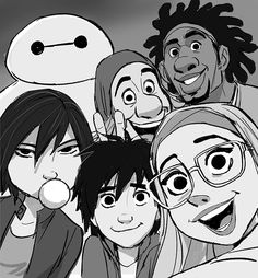 Aw I love this so much! Hiro is just cutely awkward, Go Go is just so sassy, and Baymax is just derping out.
