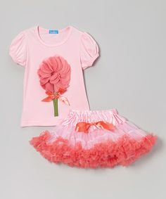 Take a look at this Pink & Red Flower Top & Tulle Pettiskirt - Infant, Toddler & Girl by Mikko Kids on #zulily today!