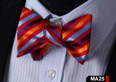 MA25 ORANGE, BLUE, PURPLE 100%Silk Striped Bow Ties Men SELF Tie Classic Wedding Butterfly Bow Tie