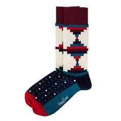 Happy Socks Men's Contemporary Tribal Print Sock #VonMaur #HappySocks #Multicolor