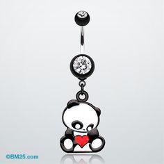 Panda Heart Belly Button Ring