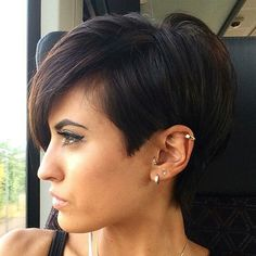 Long Brunette Pixie Haircut Thick, Sleek and Short Go for a more sophisticated pixie cut by creating a sleek, side-parted style. This is a versatile look that works with any and all occasions or ensembles. Pixie Haircut For Thick Hair, Short Hairstyles For Thick Hair, Short Pixie Haircuts, Hairstyles Haircuts, Cool Hairstyles, Short Hair Styles, Casual Hairstyles, Medium Hairstyles, Braided Hairstyles