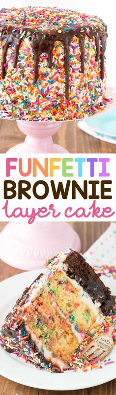 Funfetti Brownie Layer Cake - this cake is easier than it looks! There's a layer of brownie and two layers of confetti cake, filled with a cream cheese frosting and topped with a hot fudge chocolate drizzle! It's the PERFECT birthday cake recipe. via @crazyforcrust