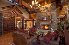 maison bois - salon cheminée