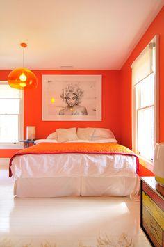 Bedroom Orange Walls - Bedroom wall paint colors have become quite popular nowadays. Orange Rooms, Bedroom Orange, Orange Walls, Tangerine Bedroom, Orange Room Decor, Orange Bedding, Gray Bedroom, White Walls, Master Bedroom Design