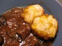 Beef and Guinness stew with cheese dumplings http://www.food.com/recipe/jamie-oliver-beef-and-guinness-stew-with-dumplings-489768