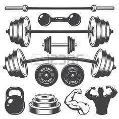 Set of vintage fitness designed elements. Monochrome style photo