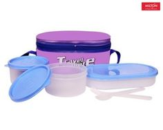 Milton Plastic Travel Mate 3 Containers Lunch Box (750 ml) (Blue & White) Buy Online Best Price