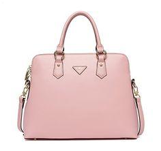 CLUCI Damen Schultertasche Leder Shopper Handtaschen Umhängetasche Tote Bag Taschen Rosa