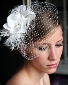 Bridal Hair Flower, Wedding Hair Accessories, Wedding Hair Flower Comb, Feathers, Pearls, birdcage veil