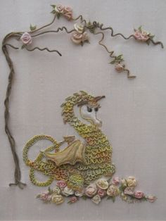 Hand Embroidered Dragon and Roses Hand Embroidery Wall Art PDF Instructions & Pattern for Needlework Dragon