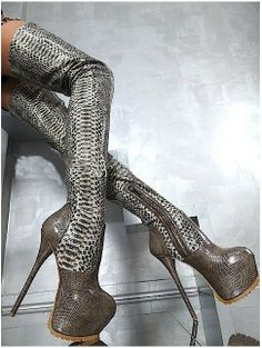 c3948945657 Only if you want your feet and legs to resemble some alien creature. New  Arrival Hot Selling Over The Knee High Heel Snake Boots Sexy Platform Pumps  Long ...