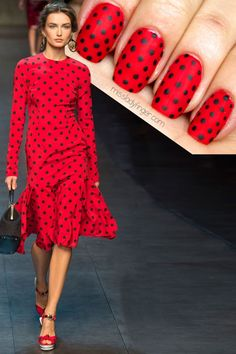 Matte red and black polka-dot nails (MANICURE MUSE: Dolce & Gabbana Spring '14)