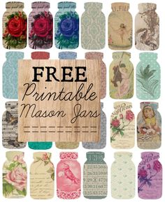 Free printable mason jars with designs.... love these