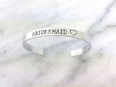 $24 Bridesmaid jewelry, gift for bridesmaid, bracelet cuff, stamped bracelet, cuff bracelet, gift under 20, bridesmaid gift  Our hand stamped cuff