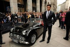 Two deadly gorgeous beasts in one photo! David Gandy and Triumph TR3 - 1957     Source: fuckyeahdavidgandy.tumblr.com