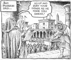 Robert Crumb - The story of Joseph & his brothers - Pharaoh allows Joseph to go to bury Jacob in his homeland (Genesis 50:6)