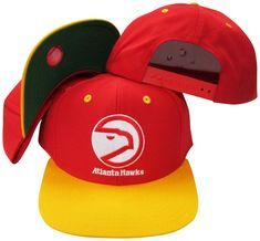 Atlanta Hawks Red Yellow Two Tone Snapback Adjustable Plastic Snap Back Hat    Cap 718a8f85049f