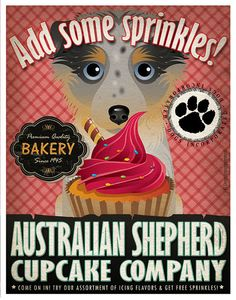 Australian Shepherd Cupcake Company - lots of different dog breed artwork at this ETSY shop