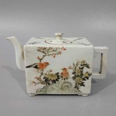 China, ROC Period, Chinese Famile Rose tea Pot , marked - Vintage Chinese Teapot with birds on branches decoration - Bird Teapot
