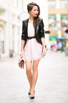 A Little Glamour :: Sequin Jacket & Rose Dress
