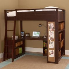 I wonder if I could reconfigure my son's loft bed to have this layout...