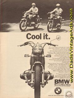 "1971 BMW Vintage Motorcycle Ad ""Cool it"" – Horizontally-opposed cyclinders"