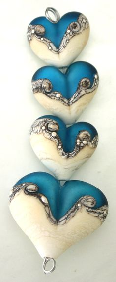 Lampwork Beads - Hearts - Sand & Sea - Focal, Pair and Bracelet Charm - SRA - Made to Order