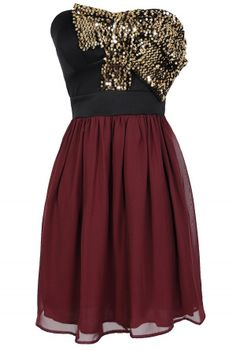 Wine and Shine Sequin Bow Dress  www.lilyboutique.com
