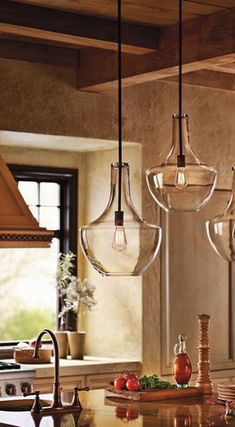 Kitchen Lighting - Everly Ceiling Pendant from Kichler Lighting Kitchen Island Lighting, Kitchen Lighting Fixtures, Kitchen Pendant Lighting, Kitchen Pendants, Light Pendant, Ceiling Pendant, Mini Pendant, Glass Pendants, Glass Kitchen