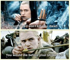 Legolas - Character Development. --  He developed from threatening Dwarves to protecting Dwarves... and he also stopped wearing eye liner.