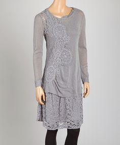 Loving this Gray Lace Linen-Blend Tunic on #zulily! #zulilyfinds