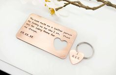 Hand stamped Wallet Insert Card and Key Chain Set - Father's Day Gift, Bride to Groom Wedding Gift - Anniversary Gift -father's day- Dad