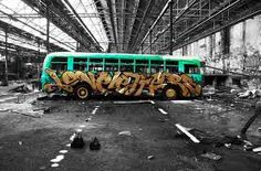 Spray paint bus