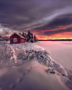 Image may contain: cloud, sky, outdoor and nature Beautiful World, Beautiful Places, Beautiful Pictures, Winter Magic, Winter Snow, Winter Scenery, Cabins And Cottages, Snow Scenes, Foto Art