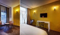 Hotel V Nesplein in Amsterdam www.hotelvnesplein.nl Wallcovering : Chance  Alliances http://www.elitis.fr/en/fabric/collection-alliances-130/drawing-joyau-31  Collection RM 723 20, RM 757 02 #papierpeint #elitis #wallpaper