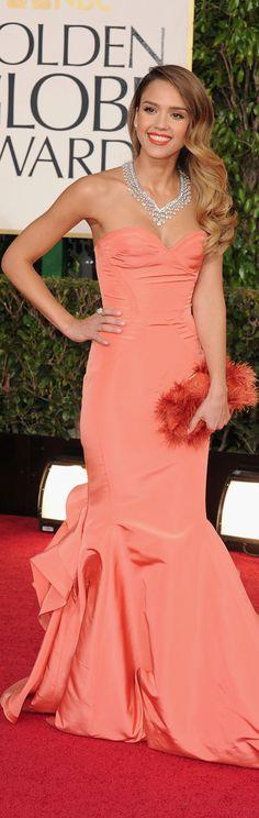 Jessica Alba in Oscar de la Renta - 2013 Golden Globes