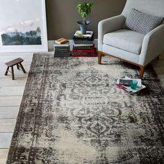 Distressed Arabesque Wool Rug - Steel. I think I need this rug!