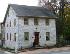 FARMHOUSE – vintage early american farmhouse in annville, pennsylvania, such a wonderful historic stone home. Old Stone Houses, Old Houses, Farm Houses, Early American Homes, American Farmhouse, Saltbox Houses, Colonial Style Homes, House On The Rock, Stone Cottages