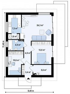 to wyjątkowy dom z kategorii projekty domów parterowych New House Plans, House Floor Plans, Building Design, Building A House, Drawing House Plans, House Construction Plan, Timber Cladding, Apartment Plans, Tiny House Living