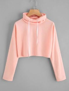 SheIn offers High Neck Drawstring Crop Sweatshirt & more to fit your fashionable needs. Cute Girl Outfits, Cute Casual Outfits, Pretty Outfits, Stylish Outfits, Girls Fashion Clothes, Teen Fashion Outfits, Outfits For Teens, Jugend Mode Outfits, Crop Top Hoodie