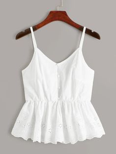 Eyelet Embroidery Ruffle Hem Cami Top - Eyelet Embroidery Ruffle Hem Cami Top Source by jacquelynrangel - Cute Casual Outfits, Summer Outfits, Indian Blouse Designs, Mode Top, Summer Tank Tops, Cute Summer Tops, Cami Tops, Cute Tank Tops, Fashion Outfits