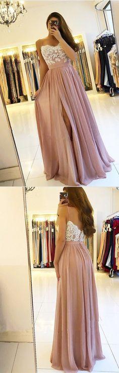 fashion spaghetti straps pink chiffon prom dresses long, simple white lace a line prom party dress