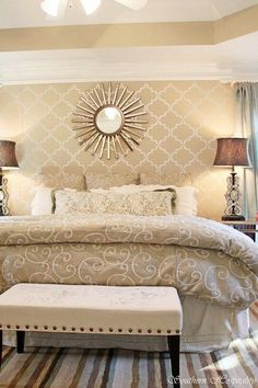 Master bedroom paint color - Windsor Greige by Sherwin Williams - I like the stencil on the wall - custom to match - a bit matchy match for my taste thou