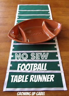 No Sew Football Table Runner from Growing Up Gabel @Shelly Gabel #crafts #SuperBowl