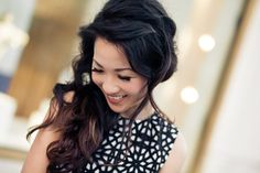 love the wavy hair down w/ strategic bobby pins in it. Asos dress is also cute, but ,alas, out of stock.