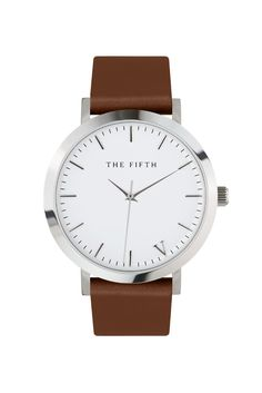 Timeless style. The White & Tan has a polished silver casing, tan Italian leather band and silver indexing. It's hard-working, whatever your setting.
