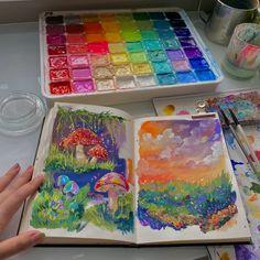 Kunstjournal Inspiration, Art Journal Inspiration, Art Inspo, Pretty Art, Cute Art, Arte Sketchbook, Sketchbook Ideas, Art Diary, Hippie Art