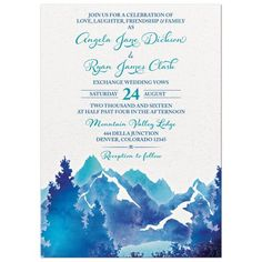 Royal blue and turquoise watercolor mountain wedding invitation. Would work well for a spring wedding, summer wedding, or winter wedding with a mountain theme. You  can also use this mountain wedding invitation for a camping wedding or a glamping wedding.